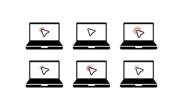 Fare clic sull'icona. icona del simbolo del cursore. computer portatile di simbolo di clic del mouse, taccuino. e-commerce