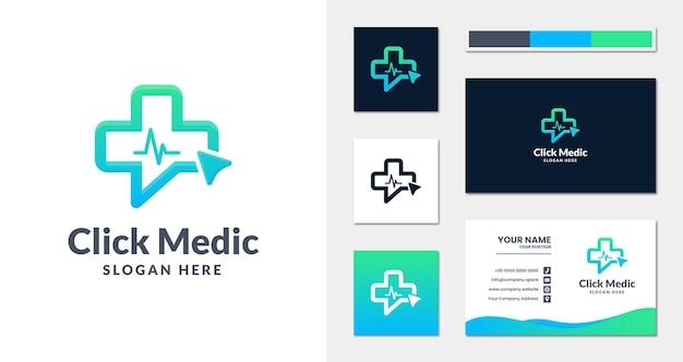 Fare clic sul logo medico con stile lineare e modello di biglietto da visita