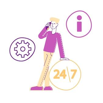 Personaggio maschile del cliente chiama al servizio di supporto tecnico parlando con uno specialista