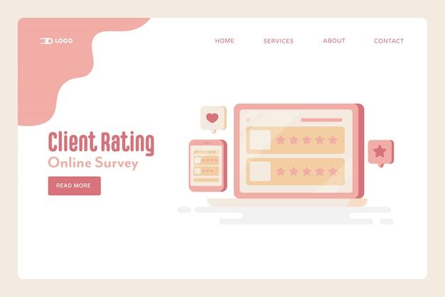 Pagina di destinazione online della valutazione del cliente