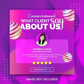 Modello di post banner social media dinamico per il concetto di tipografia creativa testimoniale del cliente