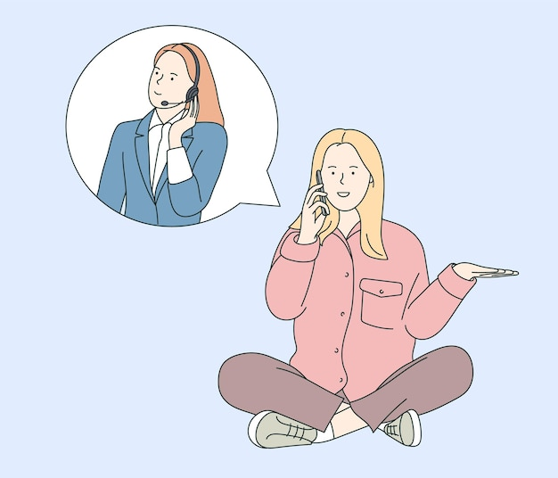 Assistenza clienti, call center, concetto di operatore hotline. conversazione mobile donna con supporto consulente operatore giovane donna con auricolare.
