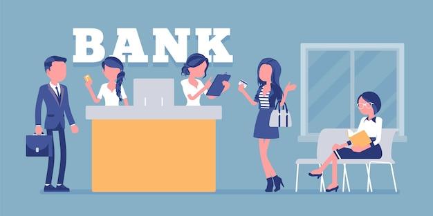 Clienti e consulenti in un'illustrazione dell'ufficio bancario