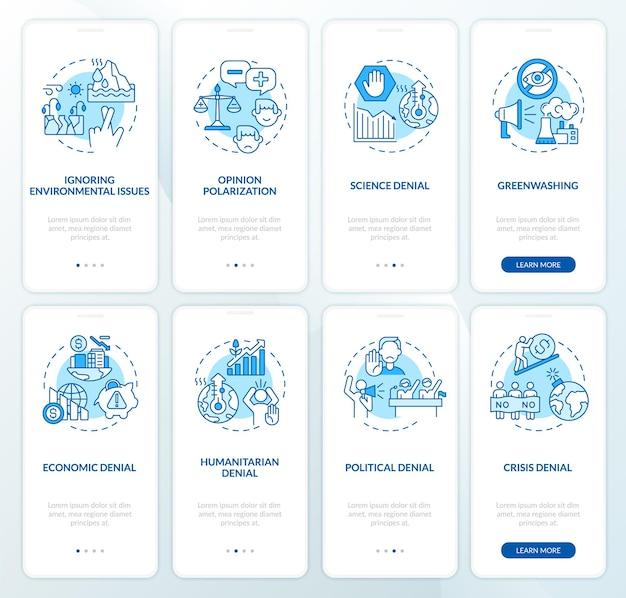 Set di schermate della pagina dell'app mobile onboarding negazione del cambiamento climatico