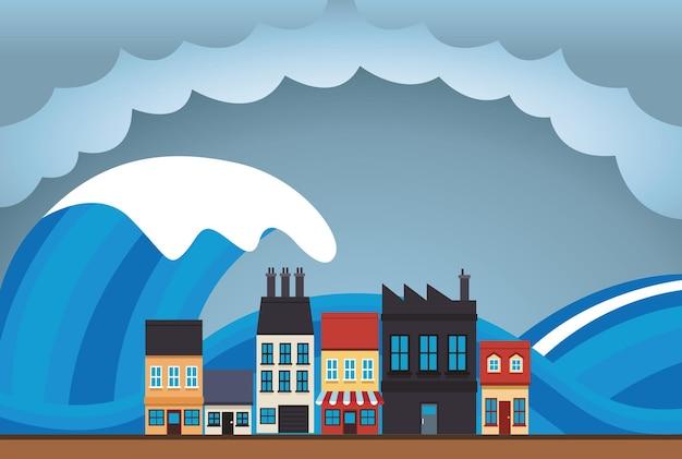 Scena dello scape della città di effetto del cambiamento climatico con l'illustrazione dello tsunami