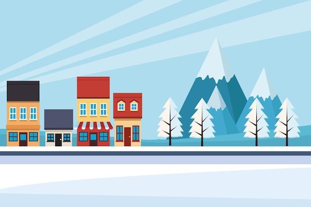 Scape della città di effetto del cambiamento climatico con l'illustrazione della scena della neve