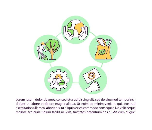 Icona del concetto di responsabilità del cambiamento climatico con l'illustrazione del testo