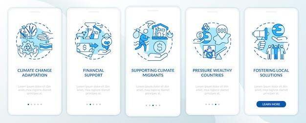 Compiti di giustizia climatica onboarding schermata della pagina dell'app mobile con concetti