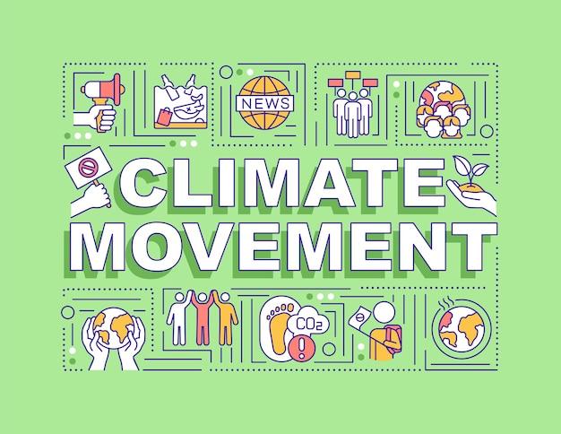 Bandiera di concetti di parola di movimento per il clima
