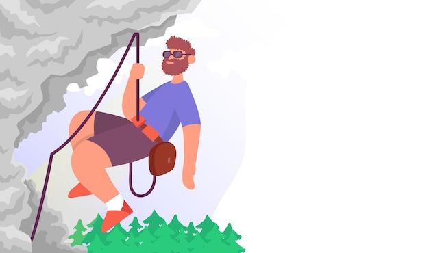 Lo scalatore scala la montagna il concetto di stile di vita attività all'aperto illustrazione piana di vettore del fumetto di colore