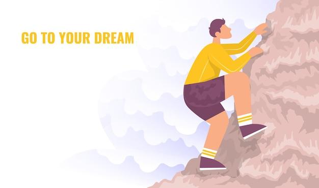 Lo scalatore si arrampica su una montagna concetto di stile di vita attività all'aperto vettore piatto di cartoni animati a colori Vettore Premium