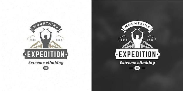 Scalatore logo emblema spedizione avventura all'aria aperta v Vettore Premium