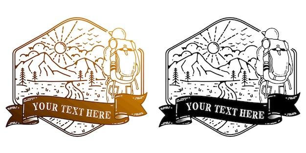 Il logo dello scalatore o lo stiker utilizzano un design semplice in stile monoline