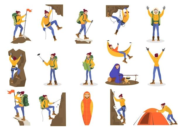 Set scalatore. alpinismo uomo con attrezzatura speciale