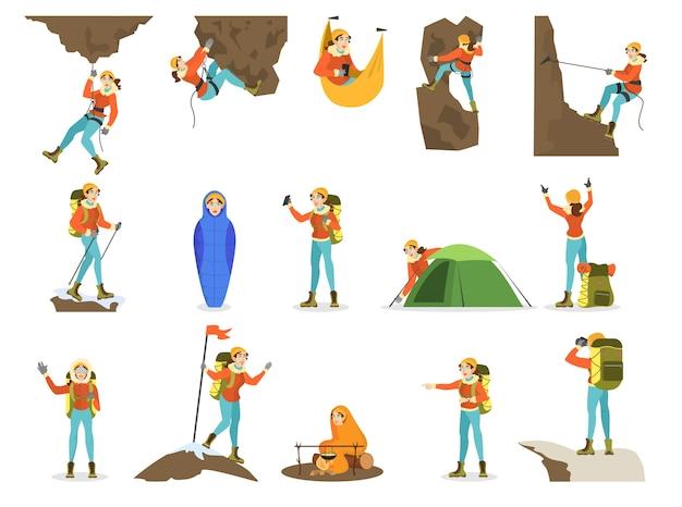 Set scalatore. alpinismo femminile con attrezzatura speciale