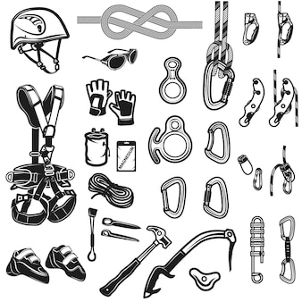 Set di icone vintage di arrampicata, campeggio ed esplorazione