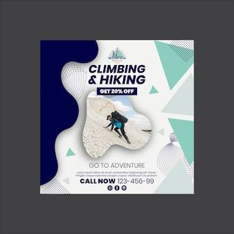 Modello di volantino quadrato per arrampicata ed escursionismo
