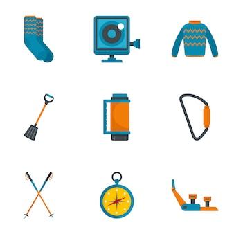 Set di icone di arrampicata montagna, stile piano