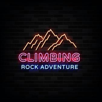 Modello di progettazione di insegne al neon di arrampicata su roccia