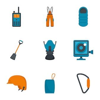 Set di icone di viaggio arrampicata, stile piano