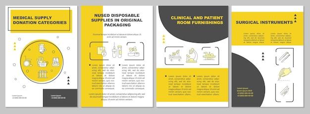 Modello di brochure per l'arredamento della camera clinica e del paziente