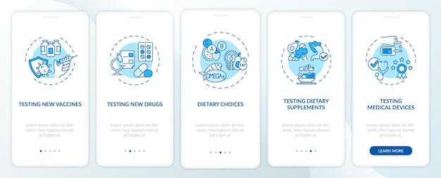 Tipi di studi clinici onboarding nella schermata della pagina dell'app per dispositivi mobili