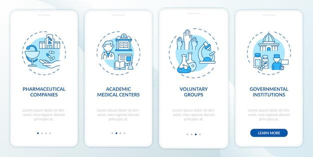 Gli studi clinici supportano l'onboarding della schermata della pagina dell'app mobile