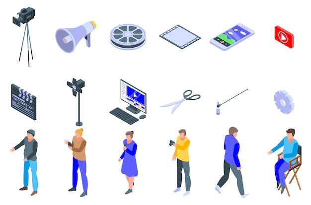 Set di icone di clip maker, stile isometrico