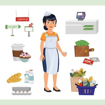 Illustrazione di clipart con la donna asiatica come contatore del cassiere