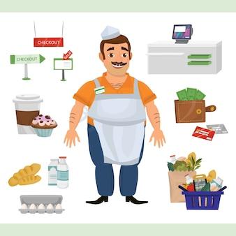 Illustrazione di clipart con l'uomo come contatore della cassa e oggetti del supermercato