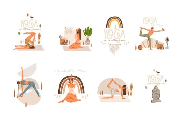 Illustrazioni clipart impostate con personaggi di giovani felici, meditanti e praticanti di yoga