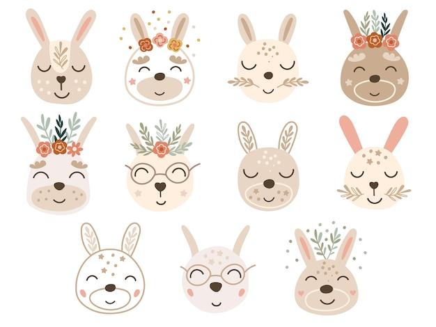Clipart con facce di coniglietto. illustrazione vettoriale.
