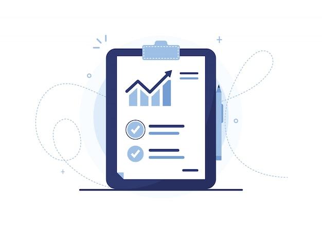 Illustrazione di vettore della lavagna per appunti dell'elenco di analisi con la penna. documento con un programma di vendita. statistiche, aumento. curva delle vendite. foglio di rapporto. notebook blu, tablet. segno di spunta