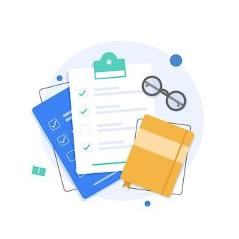 Appunti con checklist in uno stile piatto
