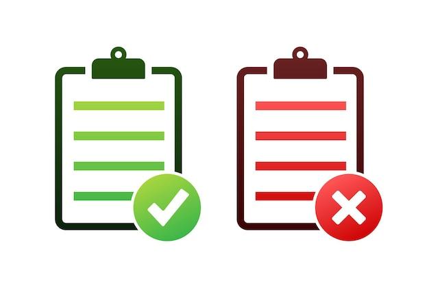 Appunti con l'icona della lista di controllo. appunti con l'icona della lista di controllo per il web. illustrazione vettoriale