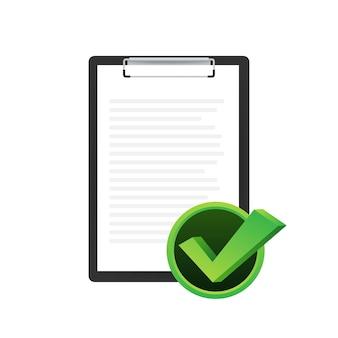 Appunti con l'icona della lista di controllo. appunti con l'icona della lista di controllo per il web. illustrazione vettoriale.