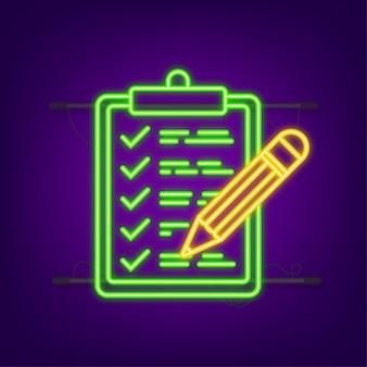 Appunti con l'icona della lista di controllo icona al neon appunti con l'icona della lista di controllo per il web