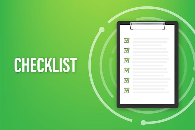 Appunti con l'icona dell'elenco di controllo per il web