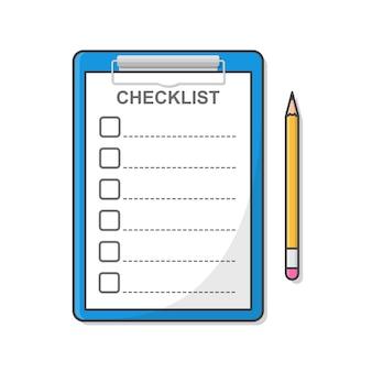 Appunti con lista di controllo e matita isolati su bianco