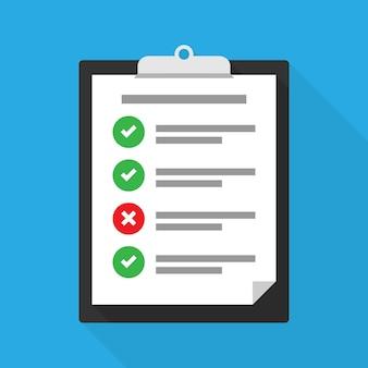 Appunti con una lista di controllo, attività completate e non completate. illustrazione vettoriale eps 10