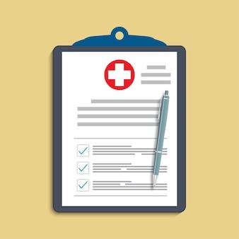 Appunti con croce medica e penna. cartella clinica, prescrizione, reclamo, rapporto di segni di spunta medici, concetti di assicurazione sanitaria.