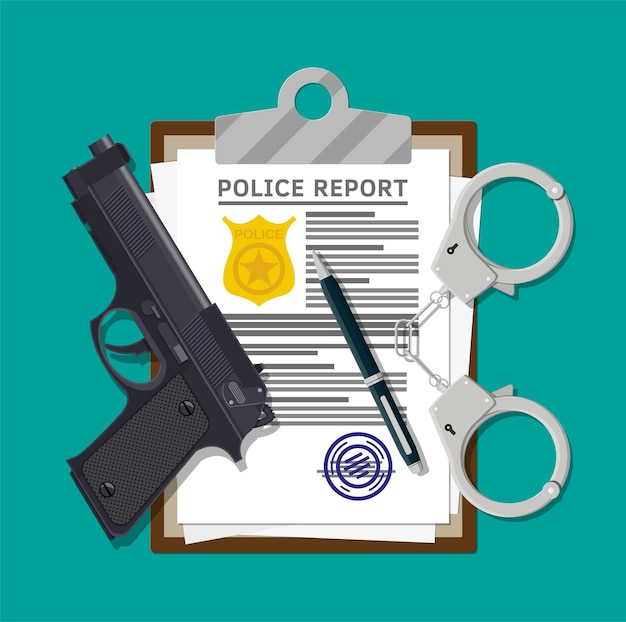 Appunti con rapporto della polizia e penna. foglio di segnalazione con distintivo della polizia d'oro.