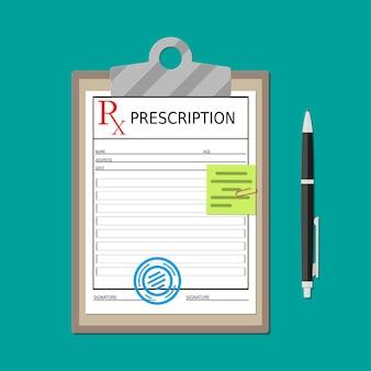 Appunti con documento di prescrizione e penna