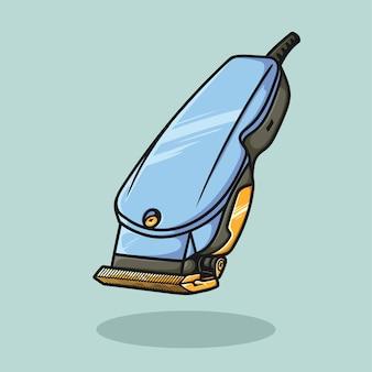 Clipper barbershop piatto del fumetto disegnato a mano vettore isolato