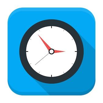 Icona dell'app orologio con ombra lunga. icona di app quadrata stilizzata piatta con lunga ombra