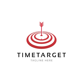 Freccia dell'orologio e target time target logo design vector