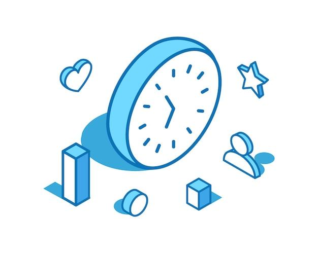 Illustrazione isometrica della linea blu dell'orologio modello di banner 3d del calendario del cronometro del timer