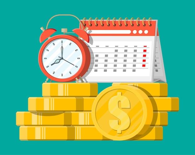 Orologio, calendario e monete d'oro. entrate annuali, investimenti finanziari, risparmi, depositi bancari, entrate future, benefici in denaro. il tempo è denaro concetto. illustrazione vettoriale in stile piatto