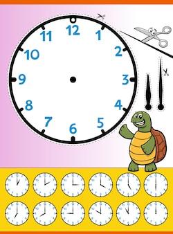 Foglio di lavoro educativo del fumetto del quadrante dell'orologio per i bambini Vettore Premium
