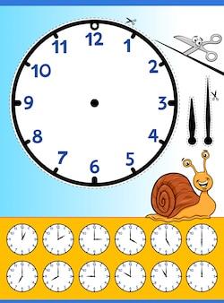 Foglio di lavoro educativo del fumetto dell'orologio faccia